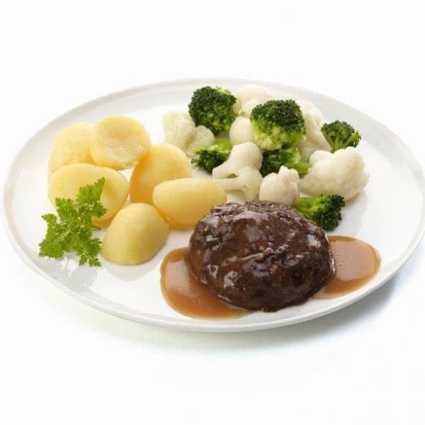 Gehaktbal met bloemkool en broccoli